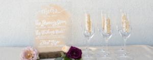 Melody Lane Press - Drink menu and custom champagne flutes