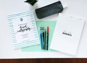 Learn brush calligraphy workshop set up